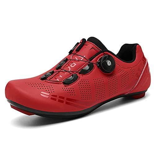 Zapatillas de Ciclismo para Bicicleta de Carretera para Hombre Antideslizante Transpirable Compatible con SPD y Delta Rojo 265
