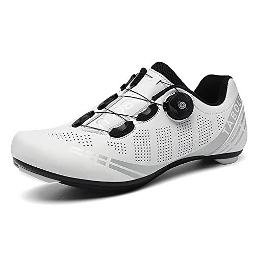 Zapatillas de Ciclismo para Bicicleta de Carretera para Hombre Antideslizante Transpirable Compatible con SPD y Delta Blanco 260