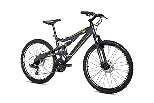 Moma Bikes Bicicleta Montaña 26' EQX5.0 Alu, SHIMANO 24V, Doble Freno Disco, Doble Susp. (Varias Tallas)