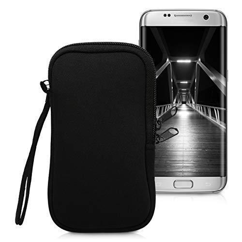 kwmobile Estuche de Neopreno Universal para Smartphone - Funda Protectora con Cremallera para L - 6,5' Negro