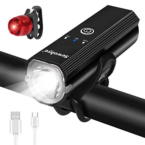 SEWOBYE Luz Bicicleta USB Recargable, Alta Potencia Luces Bicicleta Delantera y Trasera, Luces para Bicicleta con 5 Modos para MTB, Bicicleta Carretera, Bicicletas Eléctricas