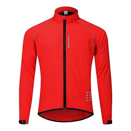 WOSAWE Chaqueta de ciclismo para correr impermeable y reflectante para hombre, cortavientos ligera, chaqueta de ciclismo a prueba de viento (rojo M)