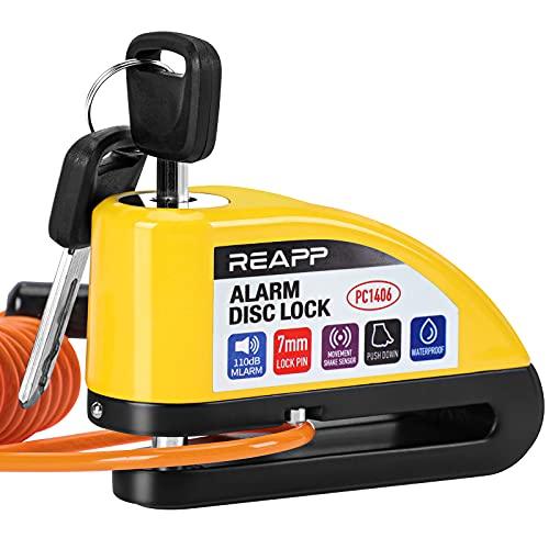 REAPP Candado Moto Disco con Alarma 110 DB, Antirrobo Moto Freno 7mm con Accesorios 1.5m Cable...*