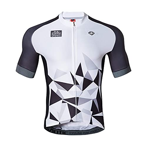 Santic Maillot Ciclismo Hombre Maillot Bicicleta con Mangas Cortas Camiseta Ciclismo Verano Blanco EU L