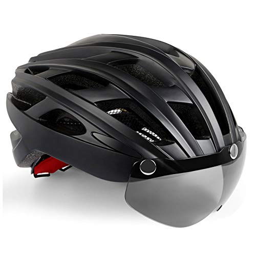 KINGLEAD Casco de Bicicleta Hombre Mujeres con Luz LED con Visera Desmontable para Carreras de...*