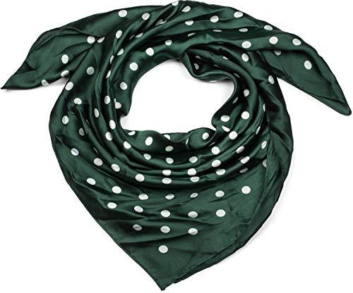 styleBREAKER pañuelo de mujer cuadrado con estampado de lunares, pañuelo para el cuello, pañuelo para la cabeza, bandana 01016171, color:Verde oscuro