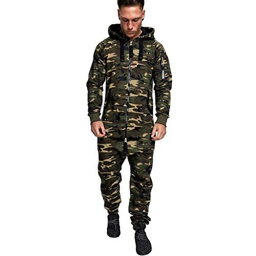 Mono para hombre, estilo cargo, informal, chándal de fitness, ropa de calle, para hombre, ropa de fitness, ropa de cuerpo entero Verde militar. XXXL