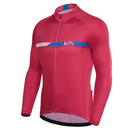 ROTTO Maillot Ciclismo Hombre Camiseta Ciclismo Manga Larga con Bolsillo*