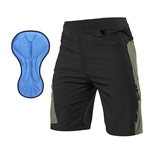 TOM SHOO Pantalones Cortos de MTB, Pantalones Cortos de Ciclismo para Hombre con Acolchados en 3D y 21 Bolsillos para Deporte al Aire Libre y Ciclismo