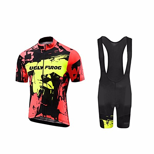 UGLY FROG Bike Wear Ciclismo Mujers Maillots Sports+Bib Tight Sets Seco y Transpirable de Bicicleta Conjunto de Ropa de Ciclo Jersey de Manga Corta