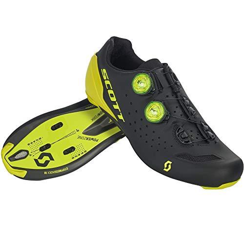 SCOTT Carretera RC Zapatillas de Ciclismo, Hombre, Black/Sulphur Yellow, 48