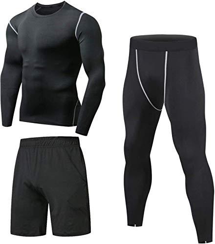Niksa 3 Piezas Conjunto de Compresion Hombre, Camisetas Compression Mallas Running Pantalon Corto Deporte Ropa Deportiva Hombre para Running Correr Gym Fitness