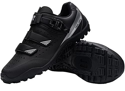 Fenlern Zapatillas de Ciclismo para Hombre Zapatos de MTB con Suela de Goma y Triple Tira de Ajustable de Correa (Negra,EU 43)