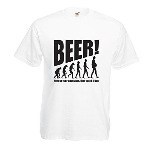 lepni.me Camisetas Hombre The Beervolution - Ideas Divertidas únicas sarcásticas del Regalo para los Amantes de la Cerveza, evolución de consumición (XXXXX-Large Blanco Negro)