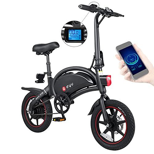 DYU D3+ Bicicleta Eléctrica Plegable, 14' Bici Electrica Adulto, 250W Motor Bicicleta Plegable 25 km/h, Batería 36V 10Ah, Frenos Disco Doble, Crucero, APP, Bicicletas Eléctricas Ciudad con Pedales