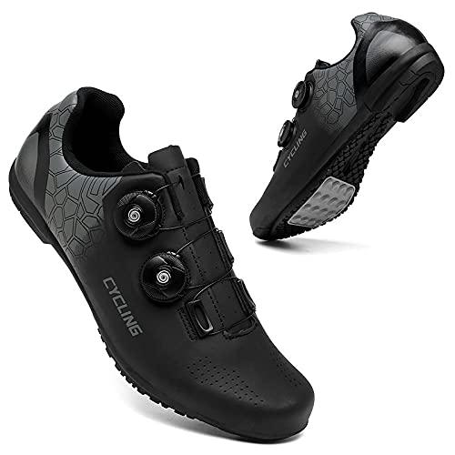 KUXUAN Calzado de Ciclismo Hombre Mujer - Calzado de Ciclismo de Carretera con Candados Calzado Deportivo Interior Exterior Transpirable Antideslizante,Black-8UK=(260mm)=42EU