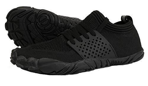 WHITIN Zapatilla Minimalista de Barefoot Trail Running para Hombre Five Fingers Fivefingers Zapato Descalzo Correr Deportivas Fitness Gimnasio Calzado Asfalto Negro 40 EU