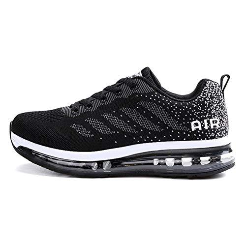 Axcone Zapatillas Hombres Mujer Deporte Running Zapatos para Correr Gimnasio Sneakers Deportivas Padel Transpirables Casual 833 BK 38EU