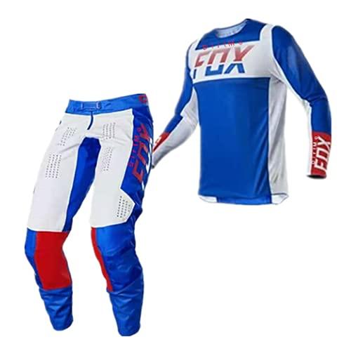 Whittie Fox Jersey de Motocross Conjunto de Manga Larga Camisetas de Bicicleta de Descenso de Montaña Conjunto de Jersey de Ciclismo Transpirable y de Secado Rápido,F,S