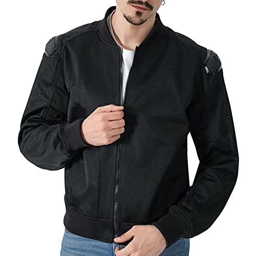 Grapelet Chaqueta de moto hombre chaqueta de moto con protectores moto chaqueta de montar mujer moto chaqueta de motociclista malla transpirable para ciclismo de verano (Negro,L)