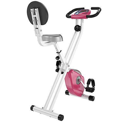 HOMCOM Bicicleta Estática para Ejercicios Profesional Bicicleta Vertical Plegable de Forma X con 8 Niveles Resistencia Magnética Asiento con Altura Ajustable Acero 43x97x109 cm Rosa