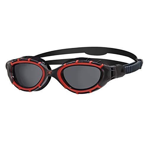 Zoggs Predator Flex Polarized-Regular Fit Gafas de natación, Adultos Unisex, Red/Black/Smoke Polarized