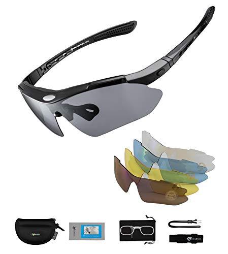 ROCKBROS Gafas de Sol Polarizadas con 5 Lentes Intercambiables para Ciclismo Bicicleta Running...*