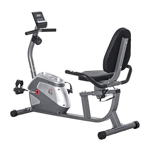 HOMCOM Bicicleta Estática Reclinada con Pantalla LCD y Volante de Inercia de 3 kg Resistencia Magnética de 8 Niveles Asiento Ajustable 121,5-136x62,5x98 cm Gris