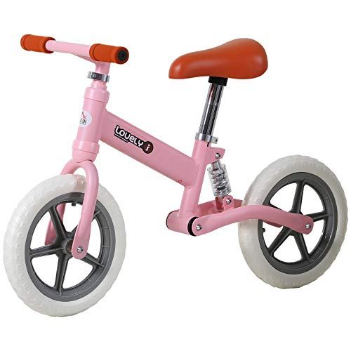HOMCOM Bicicleta Sin Pedales para Niños Mayores de 2 Años Bicicleta Entrenamiento Equilibrio con Sillín Regulable Acolchado Rueda Antideslizante Carga 25 kg 85x36x54 cm Color Rosa