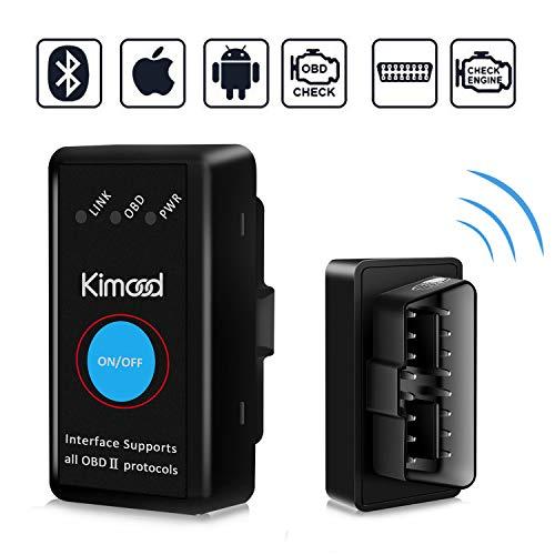 OBD2 Bluetooth 4.0 Kimood Nueva Versión Auto Diagnostico de Coche OBD2 Diagnosticos, Mini adaptador inalámbrico OBD2 Bluetooth para iPhone iOS Android Windows Symbian Tablet Smartphone, Negro
