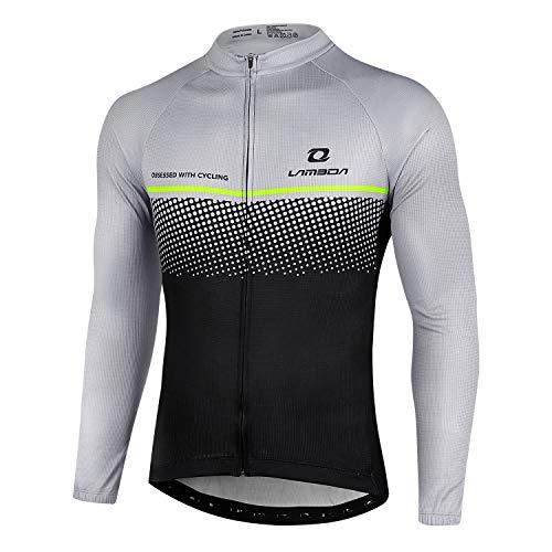 LAMEDA Maillot Ciclismo Hombre Jersey Bicicleta MTB Camiseta Ciclismo Térmica con Mangas Largas Ciclista para Entretiempo(L)
