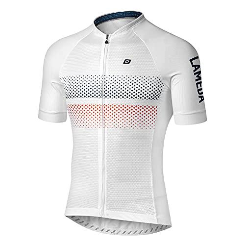 LAMEDA Maillot Ciclismo Hombre Verano Ropa Ciclista Hombre Poliéster 100% Transpirable (RY Blanco-XL