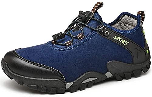 KUXUAN Calzado de Ciclismo para Hombre,Zapatos de Bicicleta de Montaña Sin Bloqueo,Calzado de Bicicleta de Carretera para Hombres y Mujeres,Suelas-PVC,Blue-42EU