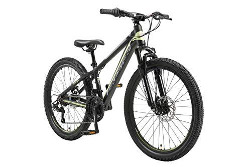 BIKESTAR Bicicleta de montaña Juvenil de Aluminio 24 Pulgadas de 10 a 13 años | Bici niños Cambio Shimano de 21 velocidades, Freno de Disco, Horquilla de suspensión | Negro