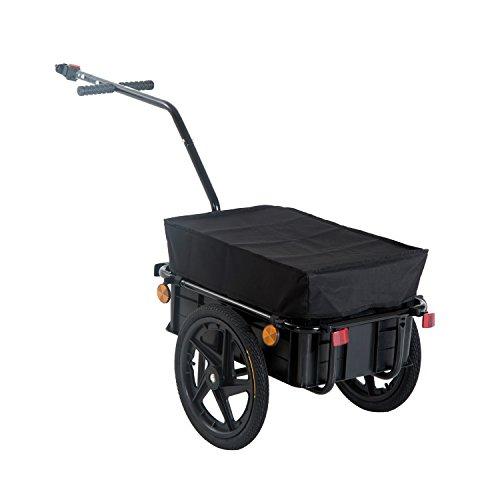 HOMCOM Remolque de Bicicleta para Carga 40kg Equipaje Reflectores y Asas Negro*