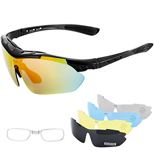 IPSXP Gafas de Sol Deportivas polarizadas 5 Lentes Intercambiables, Gafas de Ciclismo para Hombres y Mujeres, Carrera de béisbol, Escalada, Golf(Negro)