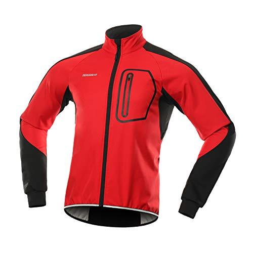 BERGRISAR Hombres Invierno Softshell Ciclismo Chaqueta cortavientos Resistente al agua Polar Bike Outerwear BG011, Rojo, Small
