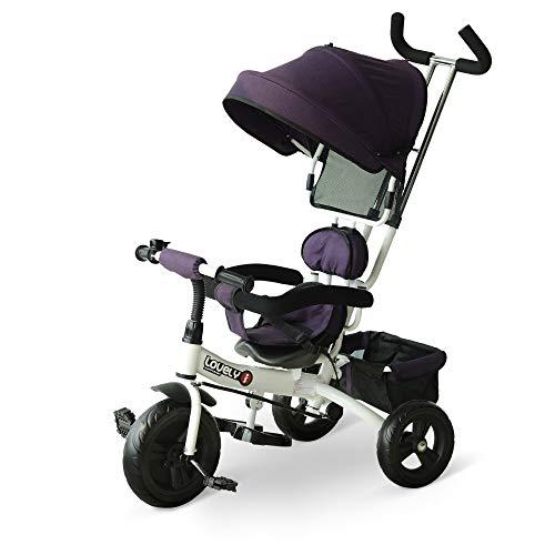 HOMCOM Triciclo para Bebé 4 en 1 Bicicleta para +18 Meses con Capota Manija de Empuje Ajustable...*