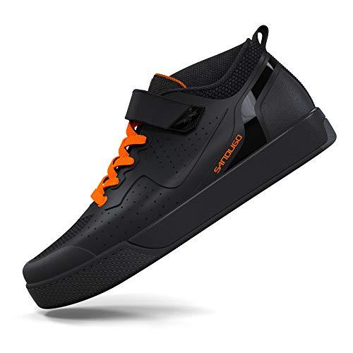 SANDUGO Zapatillas de Ciclismo de Hombre,Calzado de Bicicleta de montaña,Color: Negro,MTB ,Compatible con SPD, Pedal planol EU-43