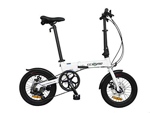ECOSMO Bicicleta plegable de aleación ligera de 16 pulgadas, 6 SP, frenos de disco duales - 16AF02W*