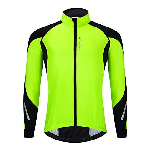 OUTPRO Chaqueta De Ciclismo para Hombre,Jersey De Bicicleta, Abrigo Térmico Cálido MTB Transpirable Térmica De Invierno (L,Verde)