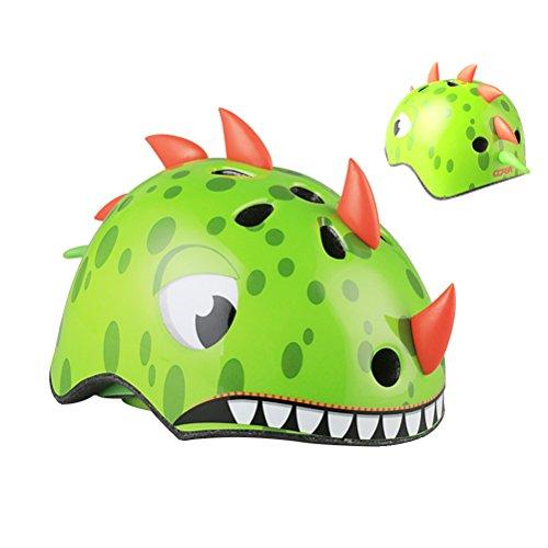VORCOOL Casco de Bicicleta para niños 3D Cartoon Dinosaur Bike Cascos Equipo de protección para Patinaje Montar en Bicicleta- Tamaño M 54-58cm (Verde)