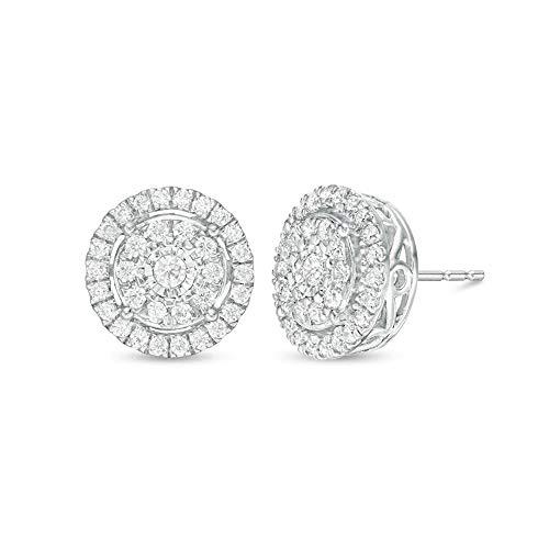 2Hearts 1 CT.T.W. Pendientes de botón de doble marco de diamante Sim transparente de corte redondo...*