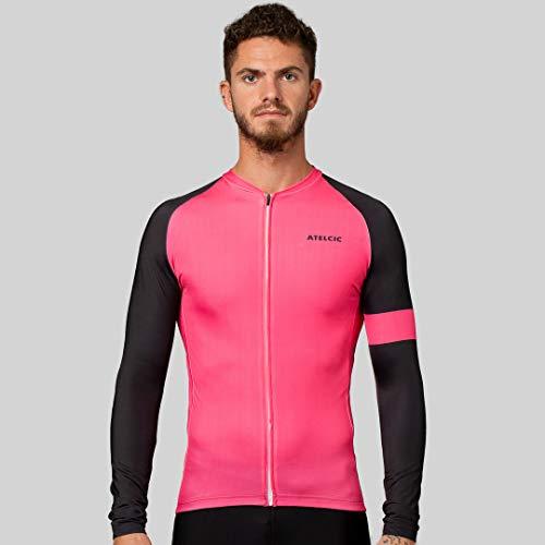 Atelcic Maillot de Ciclismo (Hiems Winter (Rosa - Negro), XS)