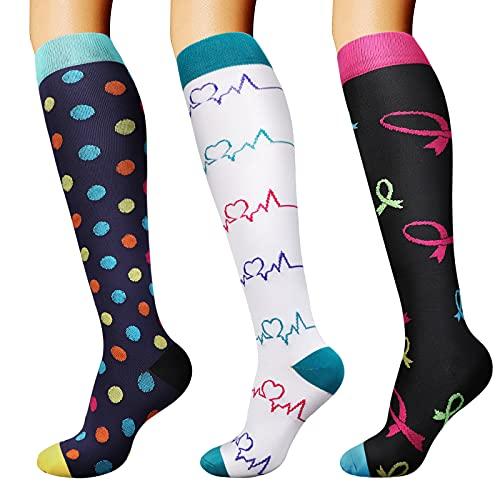 DRESHOW Calcetines de Compresión para Hombres y Mujeres 3/7 Pares 15-20 mmHg es el Mejor para...*