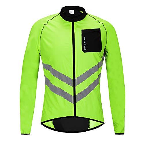 WOSAWE Hombres Ropa Ciclismo, Transpirable Chaqueta de Ciclismo Cortavientos Alta Visivilidad Chaleco Reflectante de MTB (BL218 Chaleco Verde M)