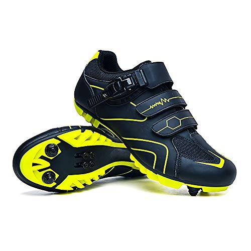 LU-Model Zapatillas de Ciclismo Elite SPD MTB para Hombres Mujeres Ideales para Bicicletas de montaña, Ciclismo de Ciclo XC en incluidos Yellow-43