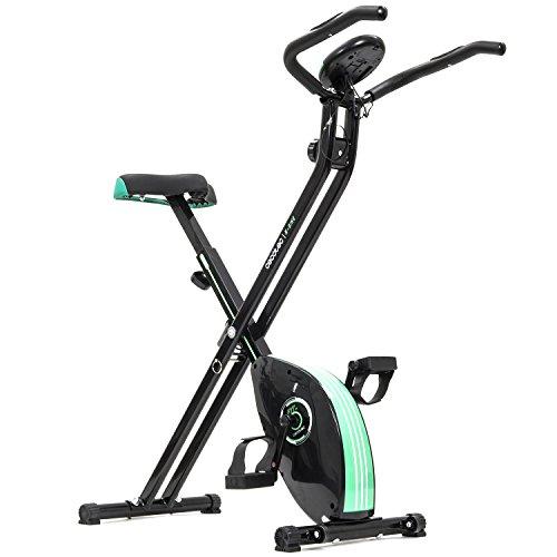 Cecotec Bicicleta Estática Plegable con Volante de Inercia de 2,5 Kg X-Bike. Sistema Silence Fit, Ergonómica, Manillar y Sillín Regulable, Pulsómetro, Pantalla LCD, Ruedas, Peso máximo 100 Kg