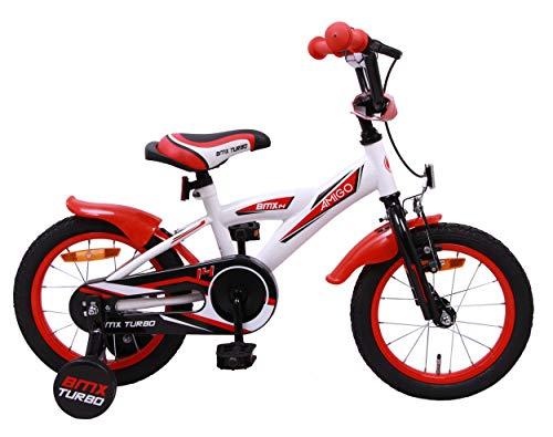 Amigo BMX Turbo - Bicicleta Infantil de 14 Pulgadas - para niños de 3 a 4 años - con V-Brake, Freno de Retroceso, Timbre y ruedines - Blanco