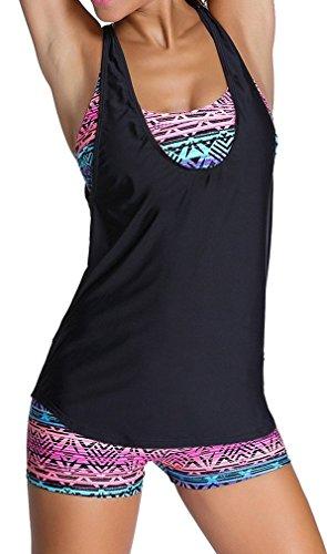 EUDOLAH Bañador Mujer 3 Piezas Top Deportivo Negro Yoga Fitness Chaleco Pantalones Cortos con Estampado Calico A-Negro,XXL